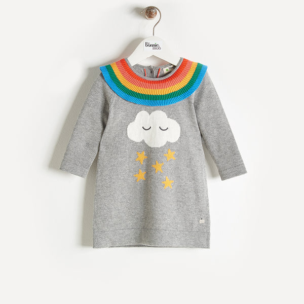 GRACE - Rainbow Frill Dress - Baby Girl - Grey