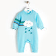 GRAFFITI - Rainbow Cloud Intarsia Playsuit - Baby Boy - Pale blue