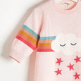 GRAFFITI - Rainbow Cloud Intarsia Playsuit - Baby Girl - Pale pink