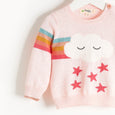 GRANDMASTER - Rainbow Cloud Intarsia Sweater - Kids Girl - Pale pink