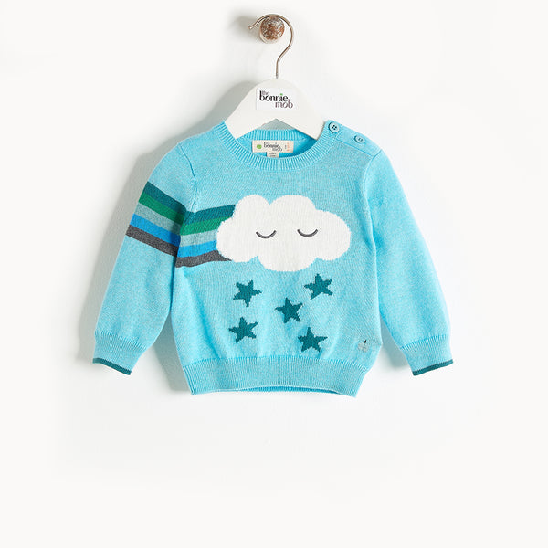 GRANDMASTER - Rainbow Cloud Intarsia Sweater - Kids Boy - Pale blue