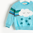 GRANDMASTER - Rainbow Cloud Intarsia Sweater - Baby Boy - Pale blue