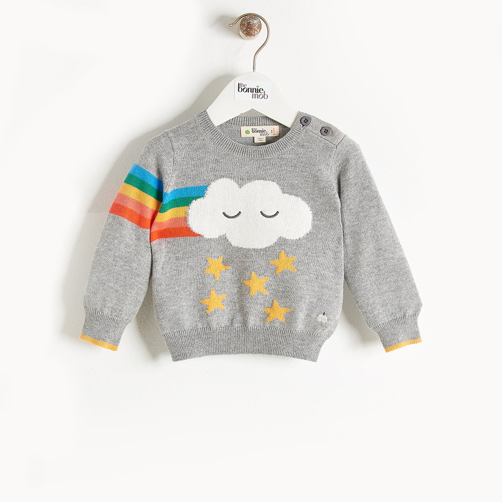 GRANDMASTER - Rainbow Cloud Intarsia Sweater - Baby Unisex - Grey