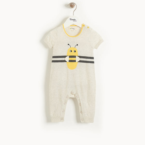 GRENADA - Baby Bee Stripe Intarsia Playsuit PUTTY