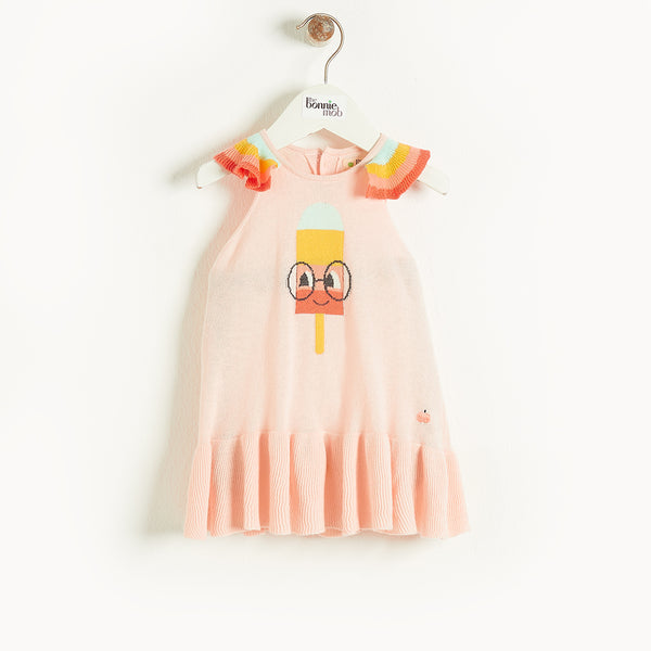 HALKIDIKI - Kids Lolly Intarsia Dress PINK