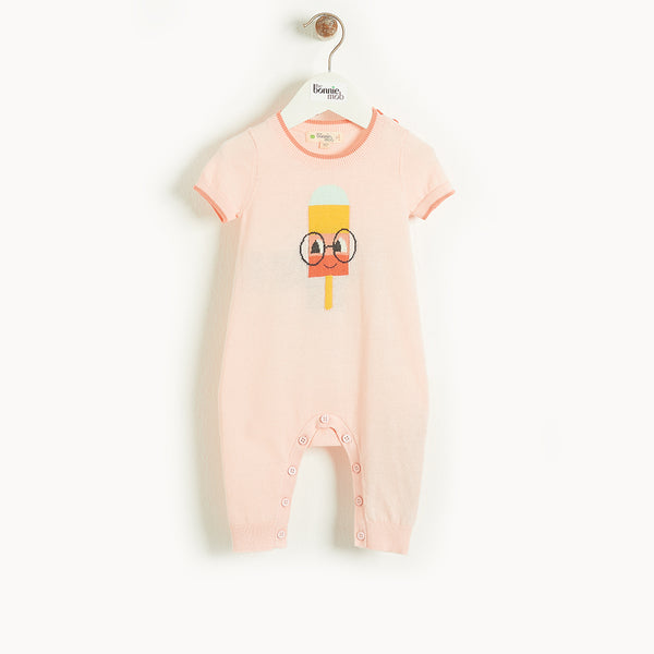 HAMPTON - Baby Lolly Intarsia Playsuit PINK