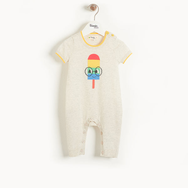 HAMPTON - Baby Lolly Intarsia Playsuit PUTTY