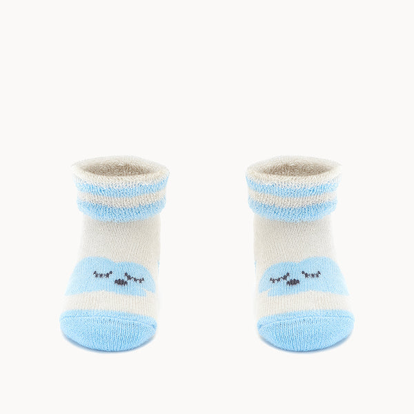HAPPY - Baby Cloud Bootie Socks BLUE