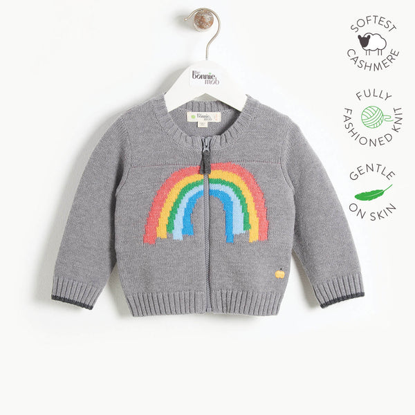 HARRISON - Kids Rainbow Intarsia Cardigan  - GREY