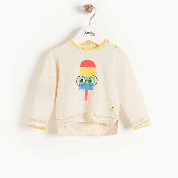 HASTINGS - Kids Lolly Intarsia Sweater  PUTTY