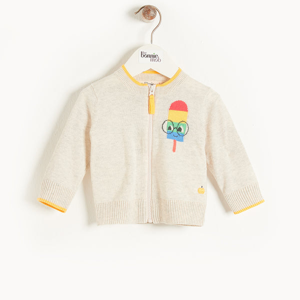 HAVANA - Kids Lolly Intarsia Cardigan  PUTTY