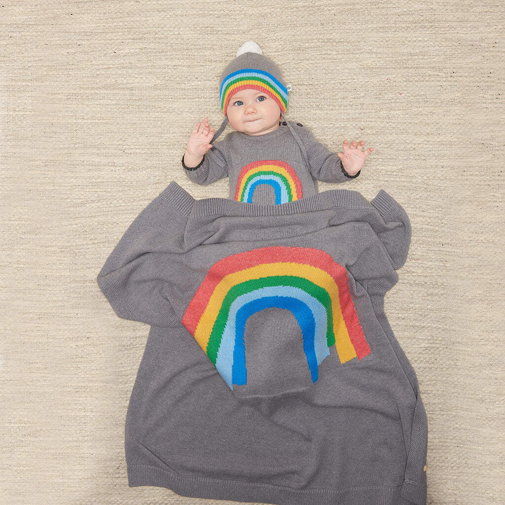 HOPE - Baby Rainbow Intarsia Blanket - GREY