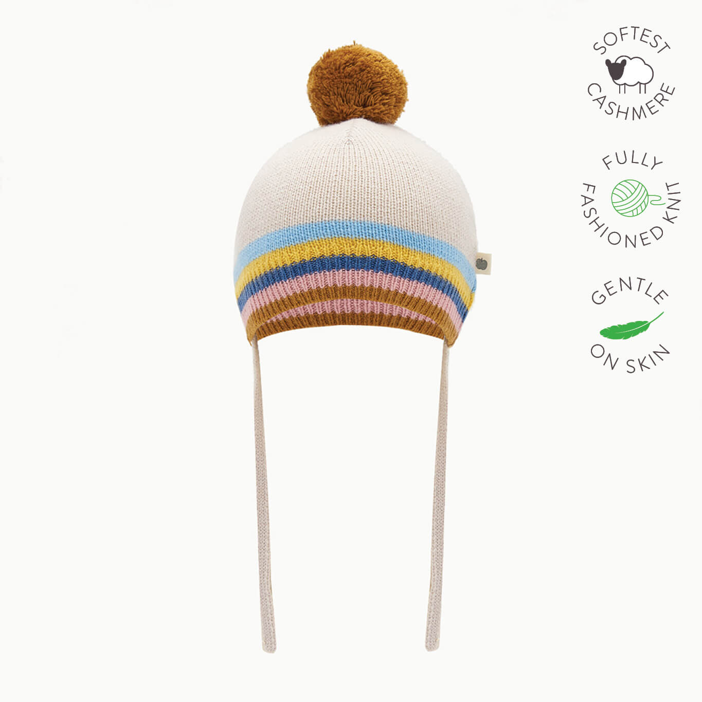 HEY - Baby Rainbow Stripe Pom Pom Knitted Hat - SAND