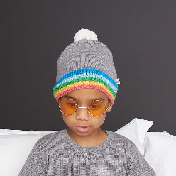 HEY - Kids Rainbow Stripe Pom Pom Knitted Hat  - GREY