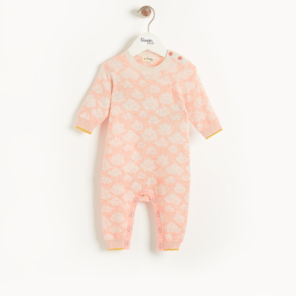 HUSH - Baby Cloud Jaquard Playsuit PEACH