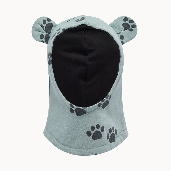 HUSTLE - Balaclava With Ears - Kids Boy - Teal paws print