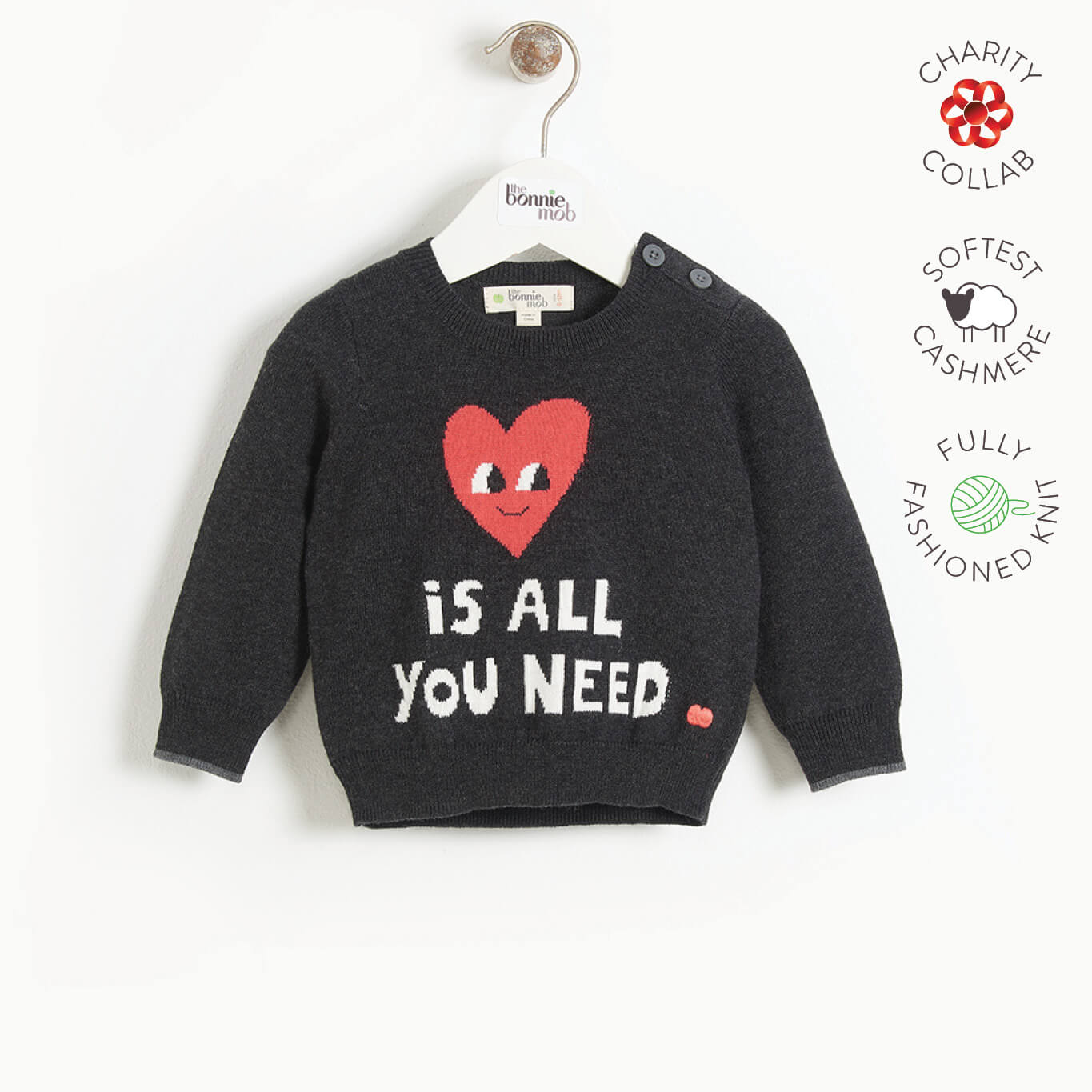 IMAGINE - Baby LOVE IS ALL YOU NEED Baby Sweater - CHARCOAL