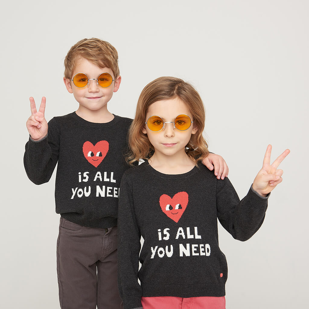 IMAGINE - Kids LOVE IS ALL YOU NEED  Sweater - CHARCOAL