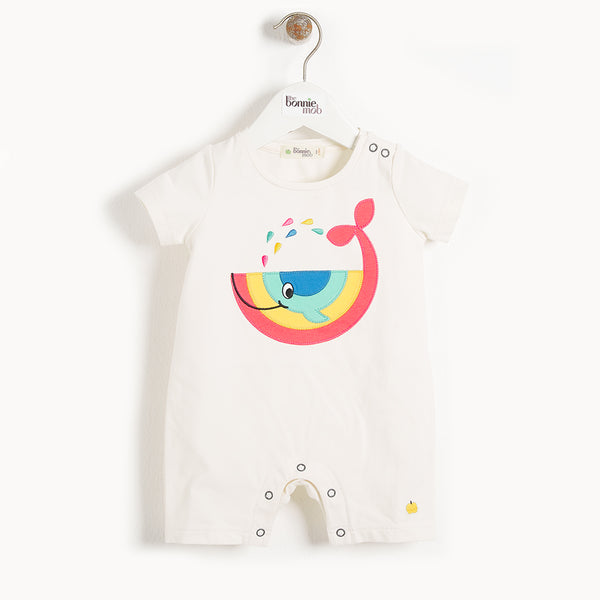 ISCHIA - Baby Motif Shorty Playsuit WHALE