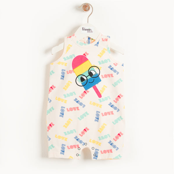 IZMIR - Baby Motif Sleeveless Romper ICE LOLLY