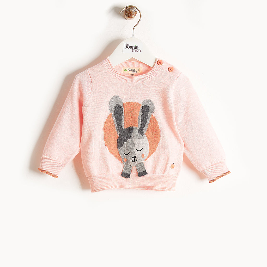 JACKSON - Bunny Intarsia Sweater - Baby Girl - Pale pink