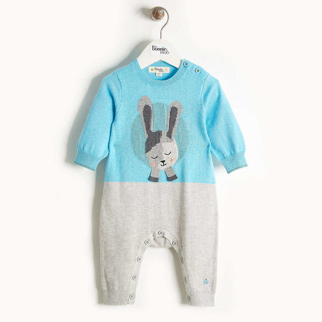 JAY - Bunny Intarsia Playsuit - Baby Boy - Pale blue