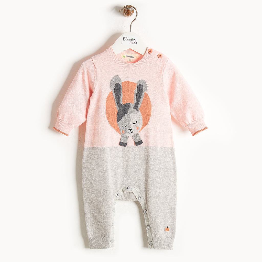 JAY - Bunny Intarsia Playsuit - Baby Girl - Pale pink