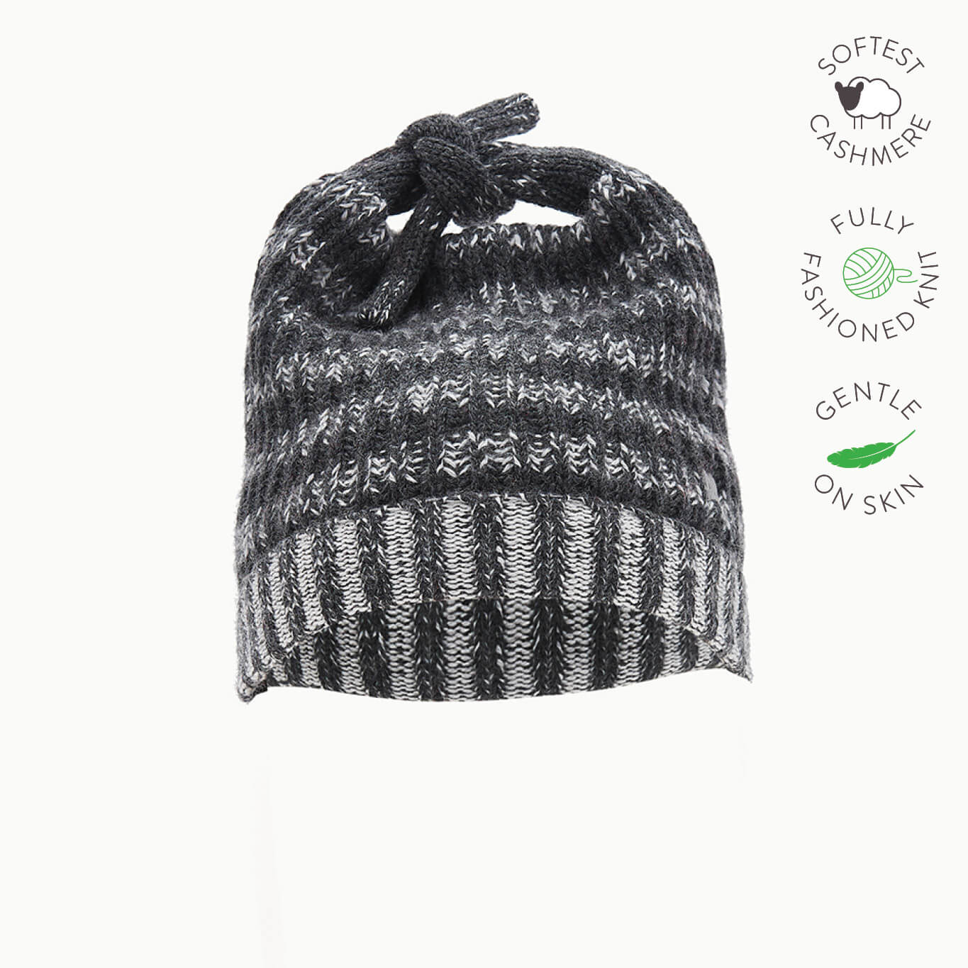 JOHN - Kids Chunky Knitted Hat  - MONOCHROME