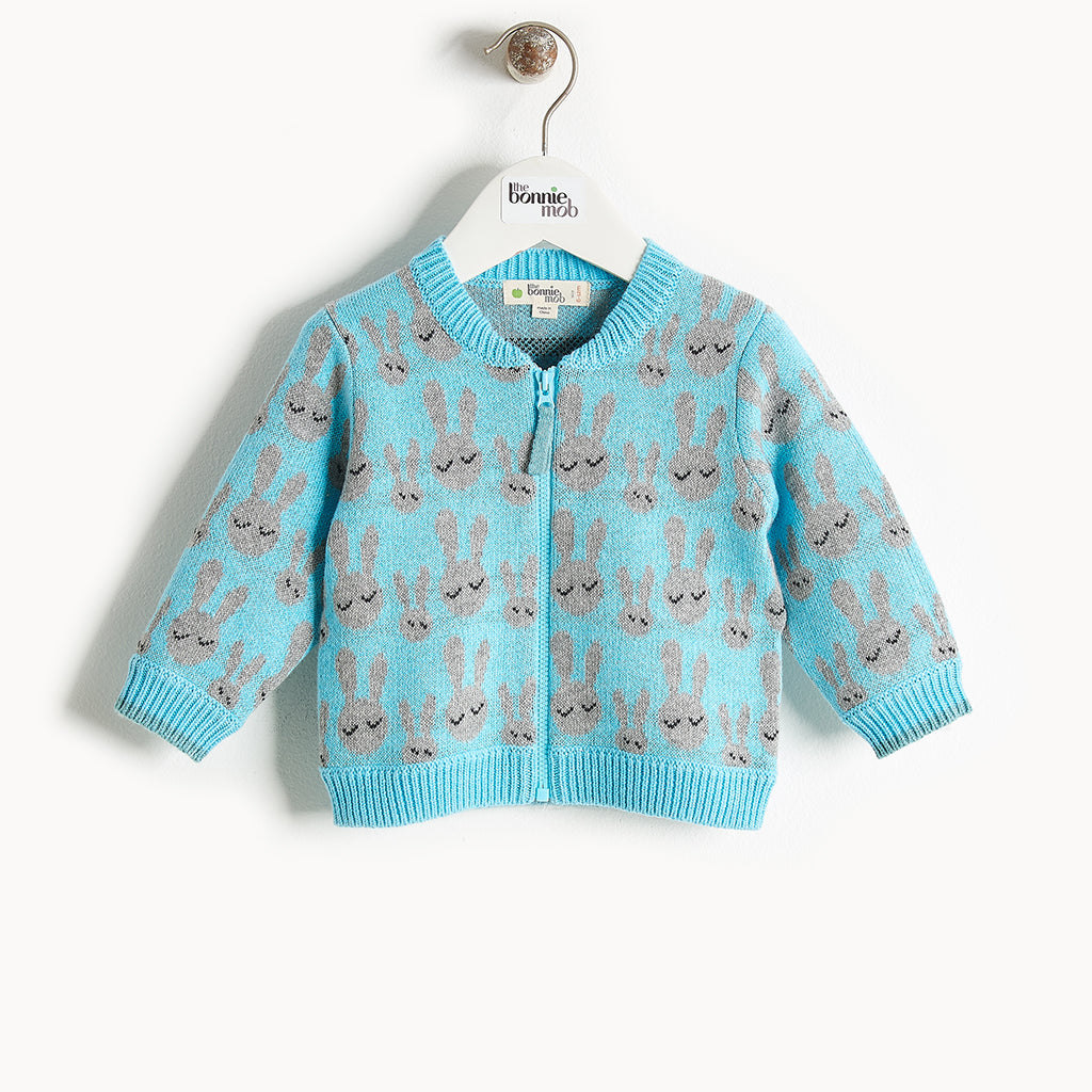 JONES - Bunny Jaquard Cardigan - Kids Boy - Pale blue