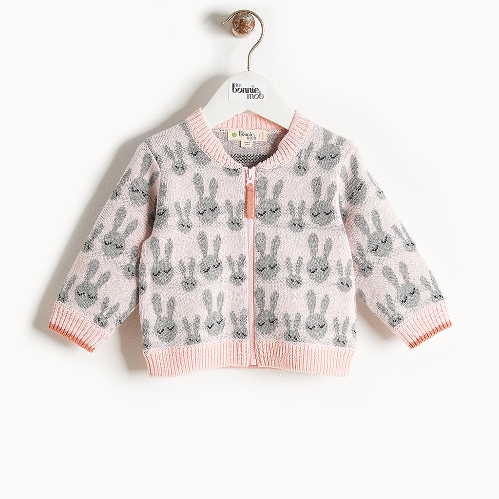 JONES - Bunny Jaquard Cardigan - Baby Girl - Pale pink