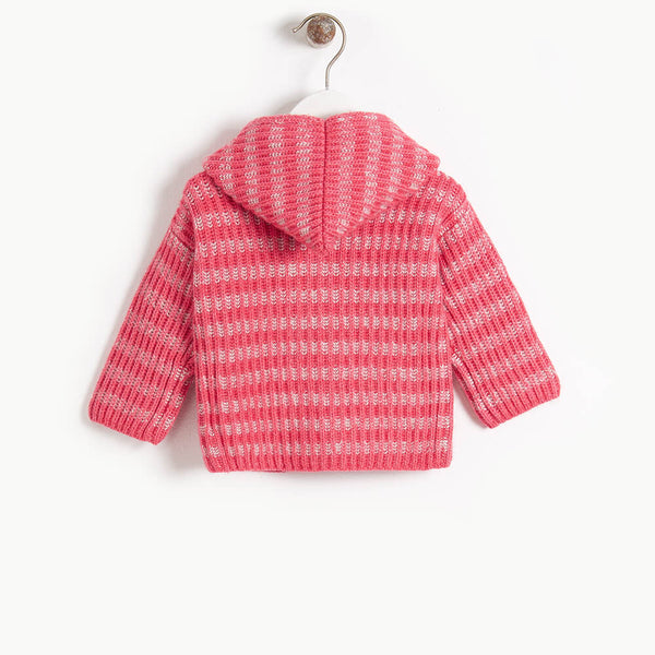 JUDE - Baby Chunky Knitted Cardigan - MELON