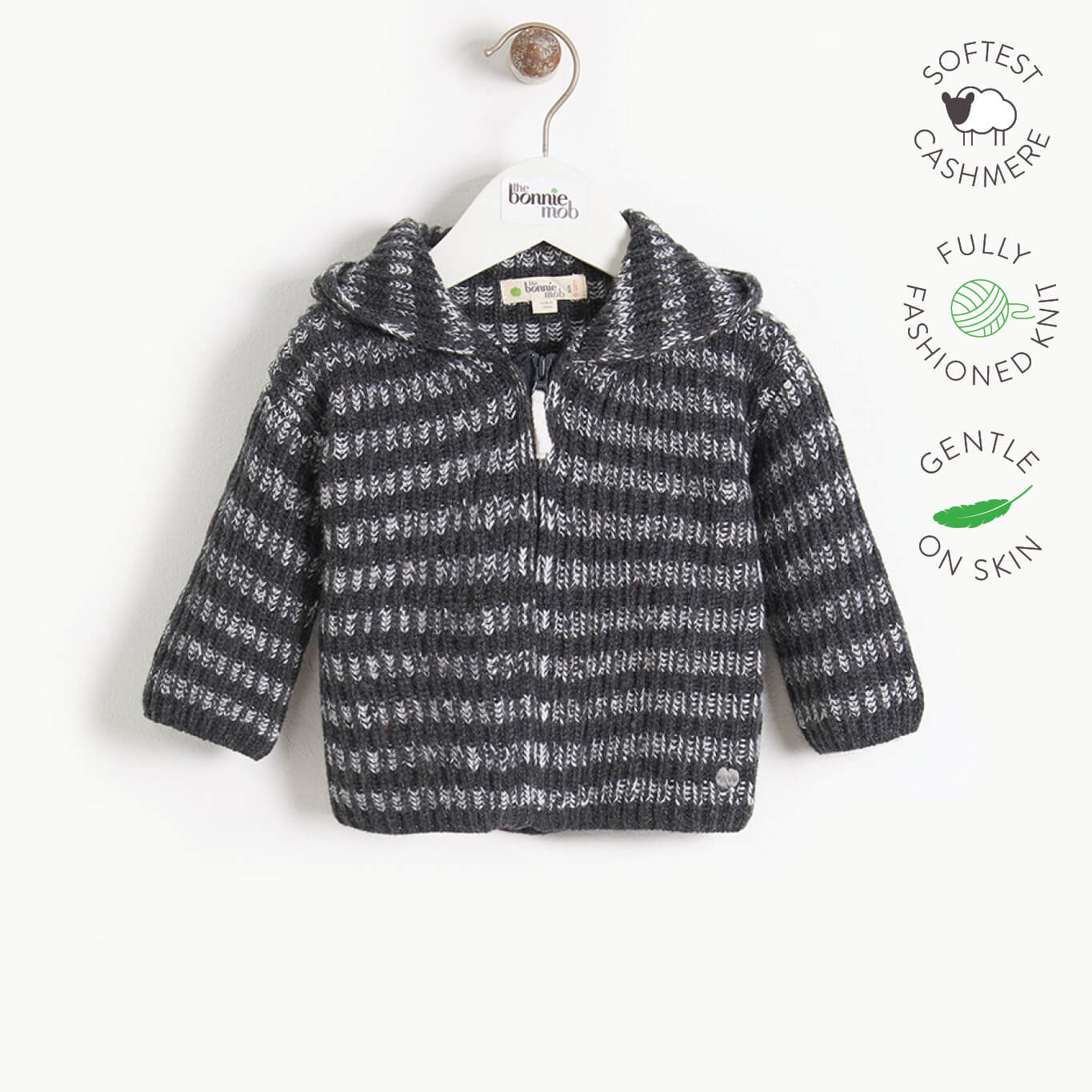 JUDE - Kids Chunky Knitted Cardigan  - MONOCHROME