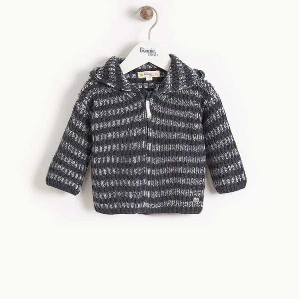 JUDE - Baby Chunky Knitted Cardigan - MONOCHROME