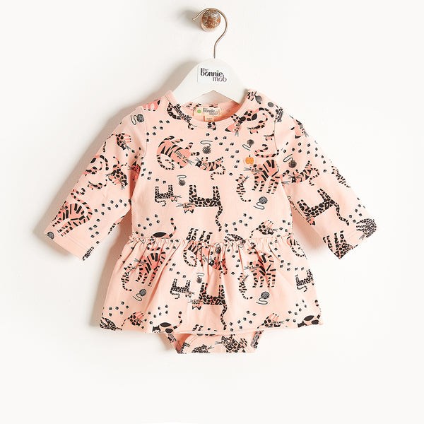 KALLY - Long Sleeves Bodysuit With Skirt - Baby Girl - Pink cat print