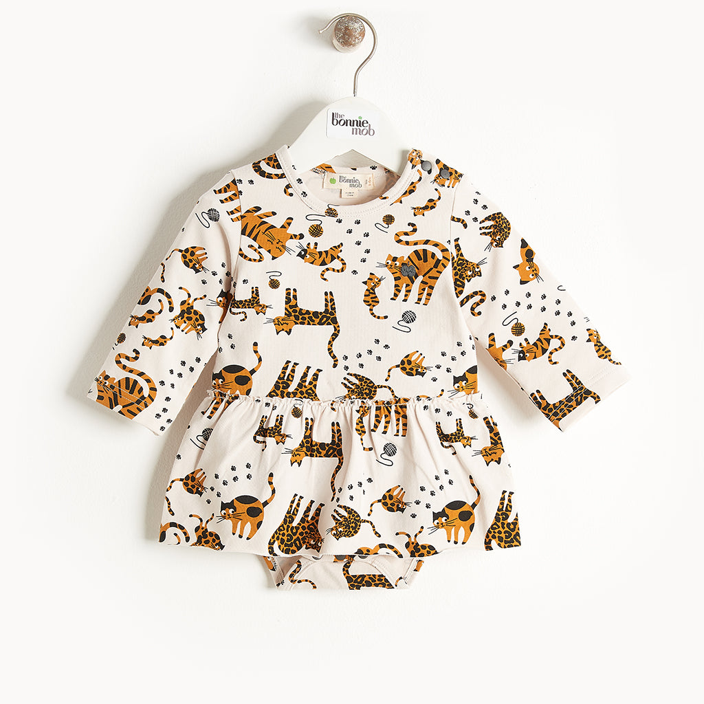 KALLY - Long Sleeves Bodysuit With Skirt - Baby Girl - Sand cat print