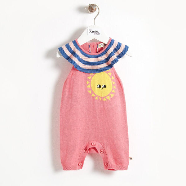 KANDINSKY - Stripey Collar Baby Playsuit - Sorbet