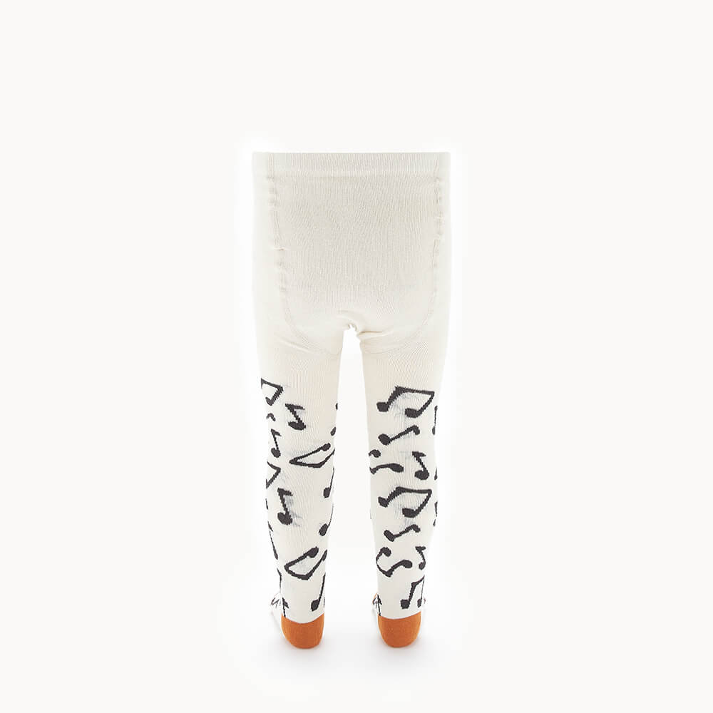 KARMA - Kids Music Note Tights  - CREAM