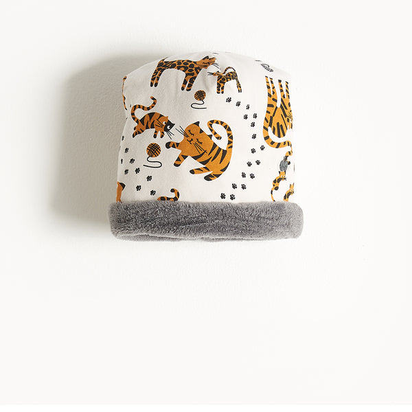 KATZ - Printed Baby Beanie Hat Lined With Faux Fur - Kids Unisex - Sand cat print