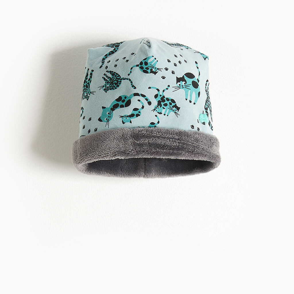 KATZ - Printed Baby Beanie Hat Lined With Faux Fur - Kids Boy - Teal cat print