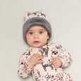 KATZ - Printed Baby Beanie Hat Lined With Faux Fur - Baby Girl - Pink cat print