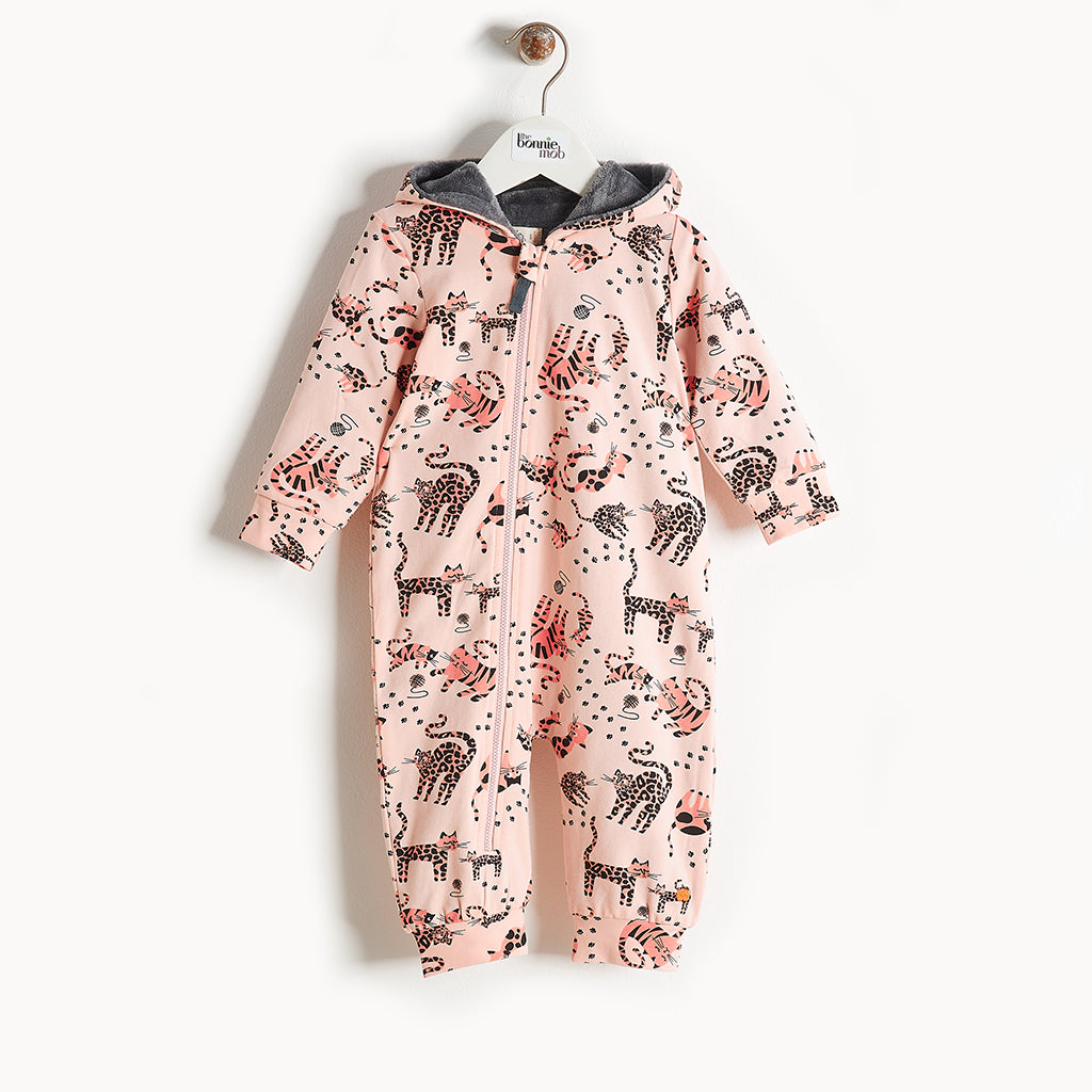 KIP - Printed Hooded Onesie With Faux Fur Lining - Kids Girl - Pink cat print
