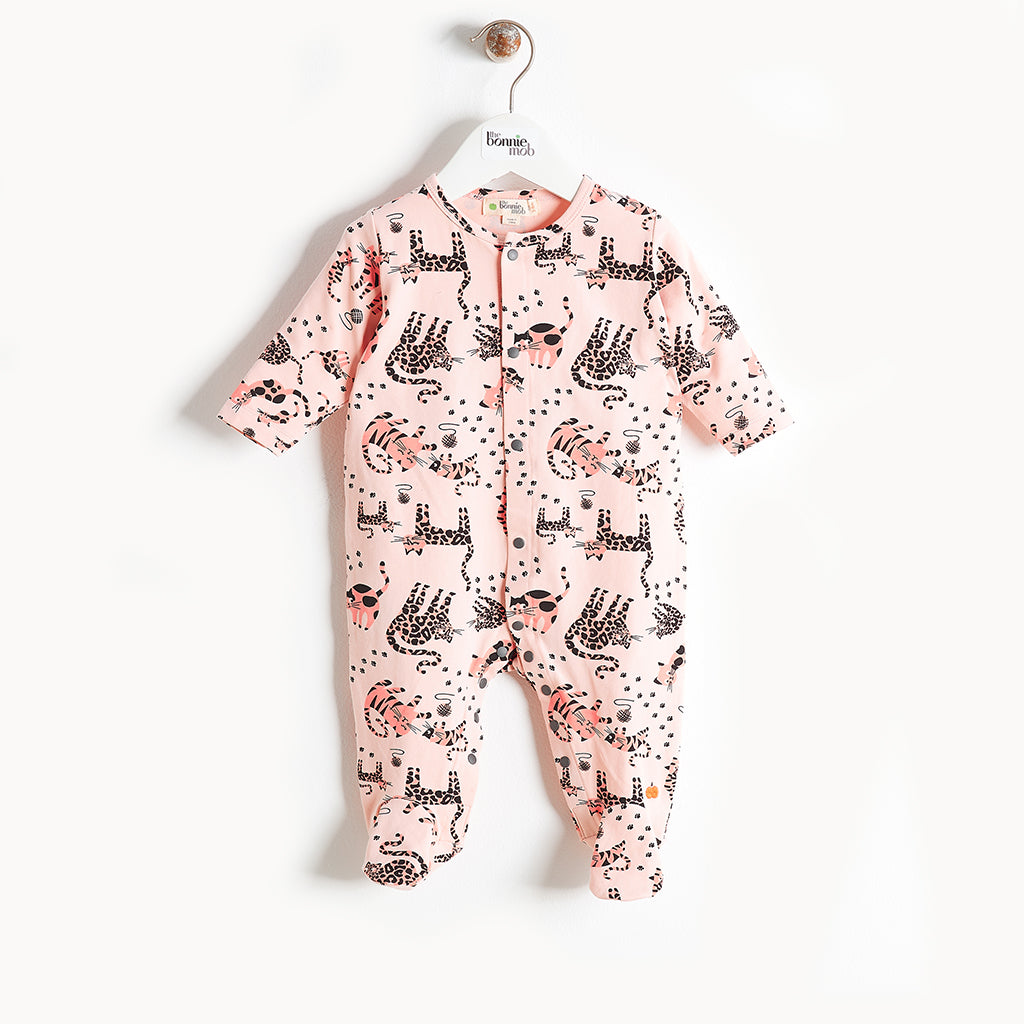 KITTY - Cat Print Sleepsuit - Baby Girl - Pink cat print