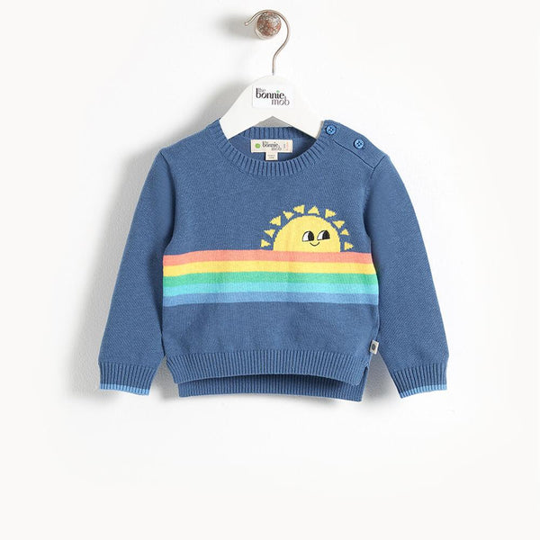 KLEE - Rainbow Sunshine Intarsia Kids Sweater - Navy