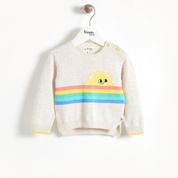 KLEE - Rainbow Sunshine Intarsia Kids Sweater - Putty