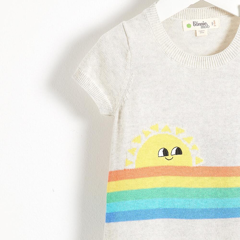 KLEIN - Rainbow Sunshine Intarsia Baby Playsuit - Putty