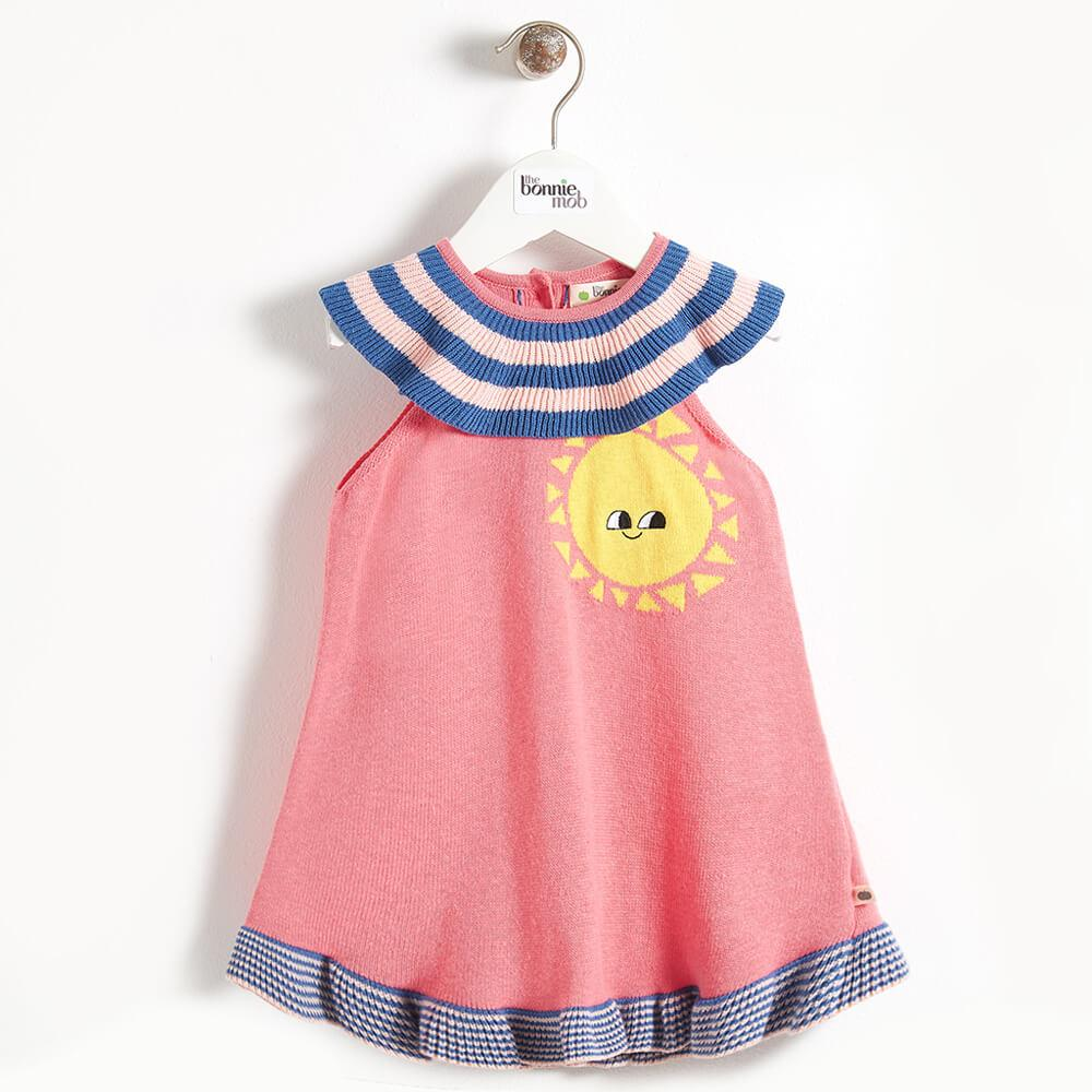 KLIMT - Stripey Collar Knitted Girls Dress - Sorbet
