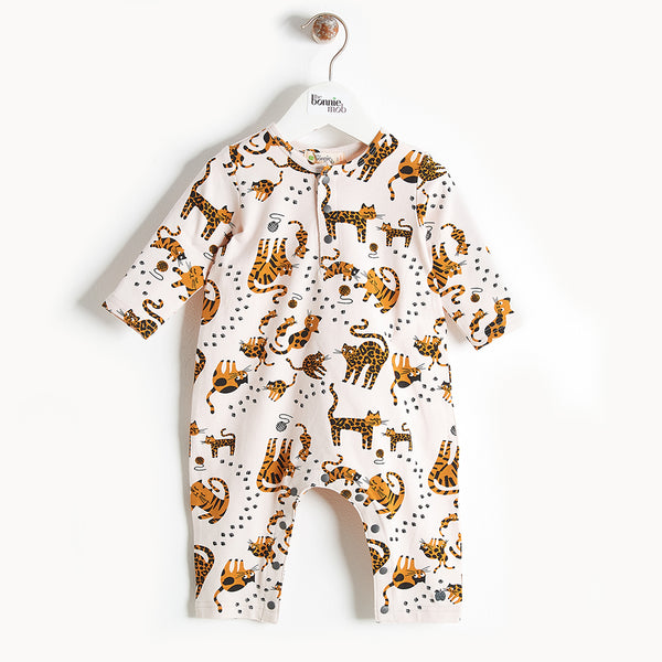 KOOL - Printed Cat Playsuit - Baby Unisex - Sand cat print