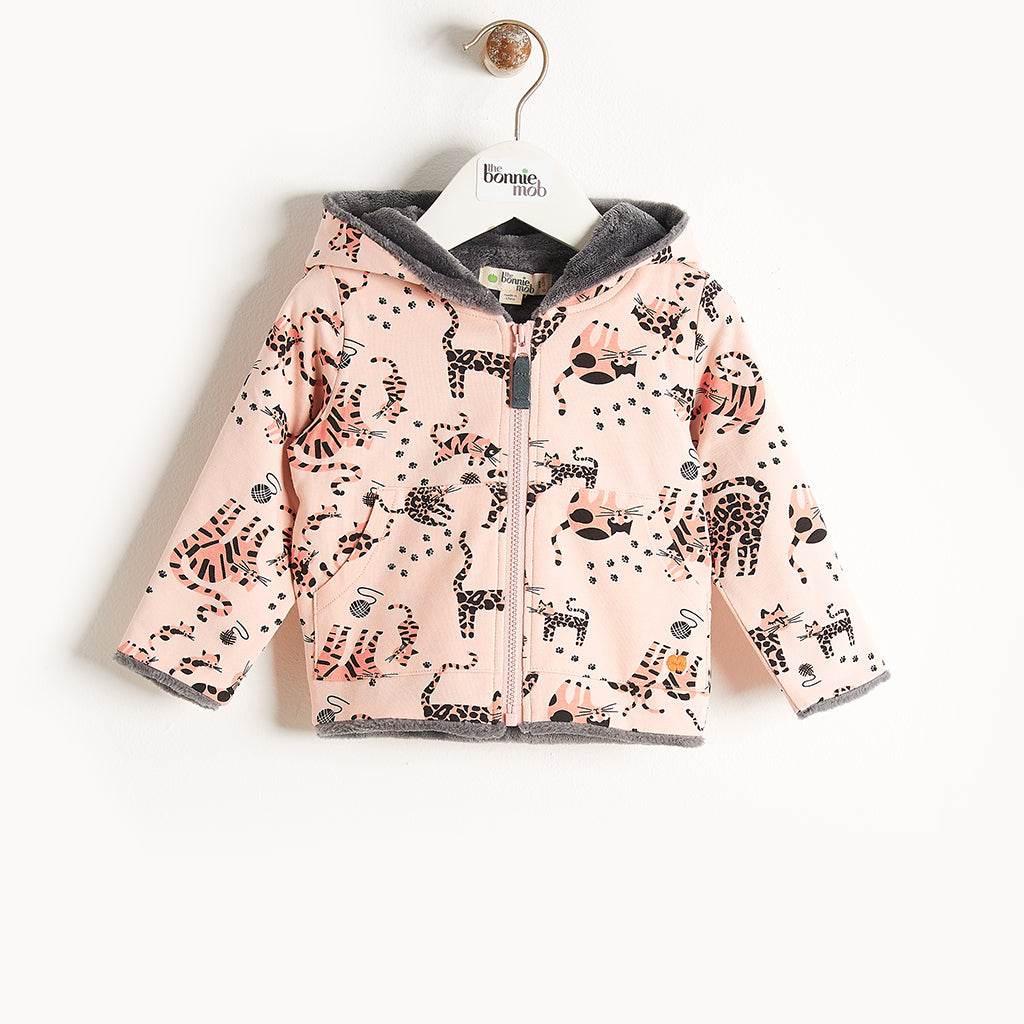 KOOPA - Printed Hoodie Lined With Faux Fur - Kids Girl - Pink cat print