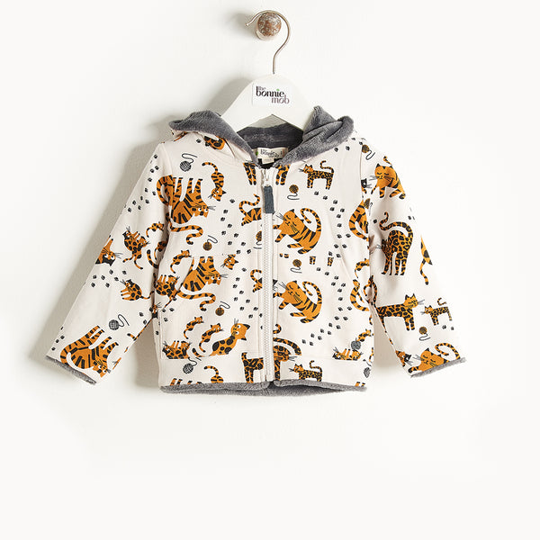 KOOPA - Printed Hoodie Lined With Faux Fur - Baby Unisex - Sand cat print