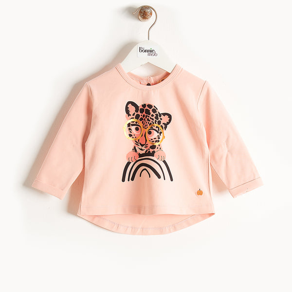 KRAZY - Long Sleeves Printed T-Shirt - Baby Girl - Pink cat print